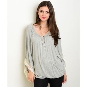 Tops - Sale! Light Grey Top with Lace Accents