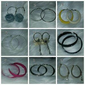 Jewelry - Hoop earrings lot of 9