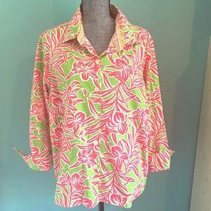 Izod Tops - Izod Woman Fun Floral Preppy Shirt 2X Stretch pink