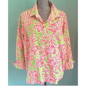 Izod Woman Fun Floral Preppy Shirt 2X Stretch pink