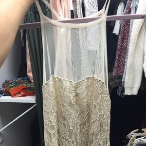 Kimchi Blue Tops - Cream lace and mesh tank top from urban outfitter