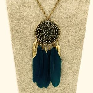 Jewelry - Dream Catcher Long Blue Feather Carved Pendant