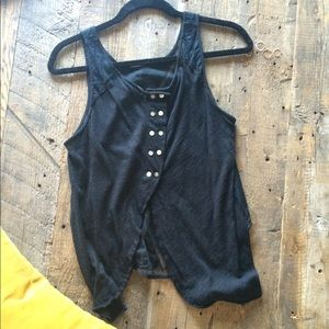 Free People Tops - Free People | Black Button Back Tank