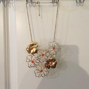 Gold & Orange Flower Statement Necklace