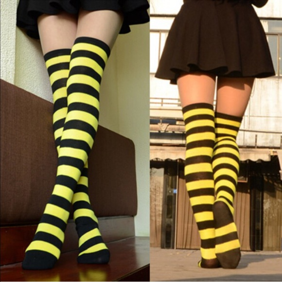 576ecc8d4fc Accessories - Black and Yellow aAbove the knee Thigh High Socks