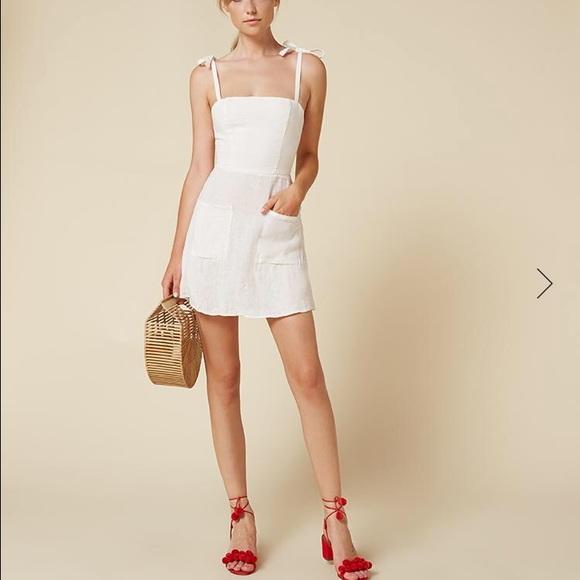 cb00f38a1f9 Reformation white tie strap summer dress. M 57a7e62ff739bcad1b0177d7