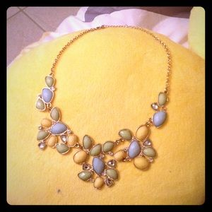 Amber & Vanilla Accessories - Gold chained blue yellow and green necklace