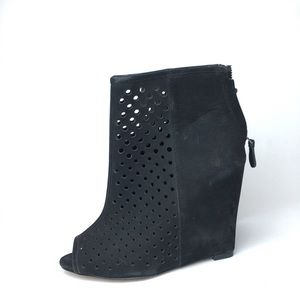 Cynthia Vincent Shoes - Cynthia Vincent Black Suede wedge peep toe Bootie