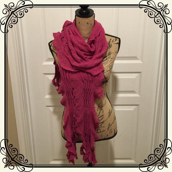 Accessories Ruffle Edge Knit Hot Pink Scarf Poshmark
