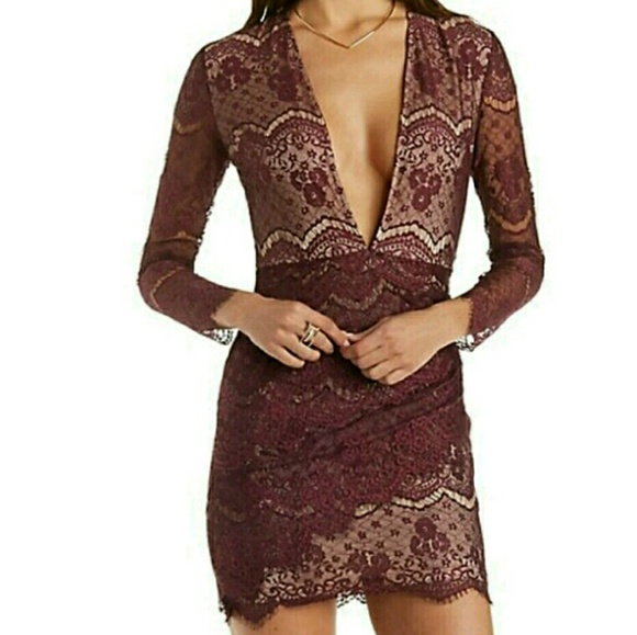 5f10da0f19 Charlotte Russe Dresses   Skirts - Charlotte Russe Plunging Lace Bodycon  Dress