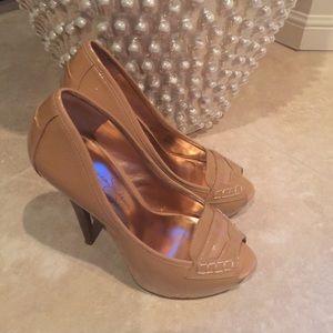 Jessica Simpson 5 1/2 nude open toe high heels