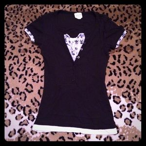 Black Gray White Layer-Look Skull Tee Top