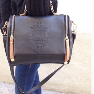 Black PU leather top handled/ crossbody bag