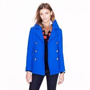 New Jcrew Majesty Wool Pea Coat Royal Blue