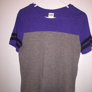 Purple and gray, VS PINK tee. Only worn once