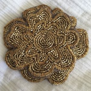 Colette Malouf Accessories - Colette Malouf Gold Embroidered Floral Clip