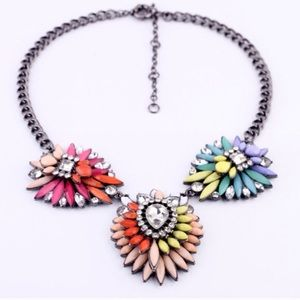 Rainbow colorful crystal floral statement necklace