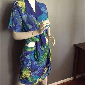 Vintage Melrose tropical print sarong skirt set.