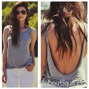 Grey Backless Tank Top