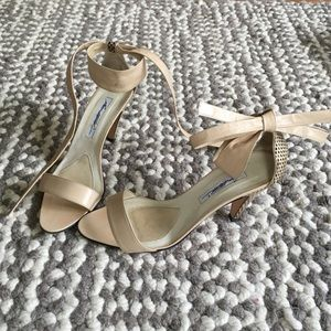 Brian Atwood Shoes - Brian Atwood Leather/Snakeskin Ankle Tie Sandals