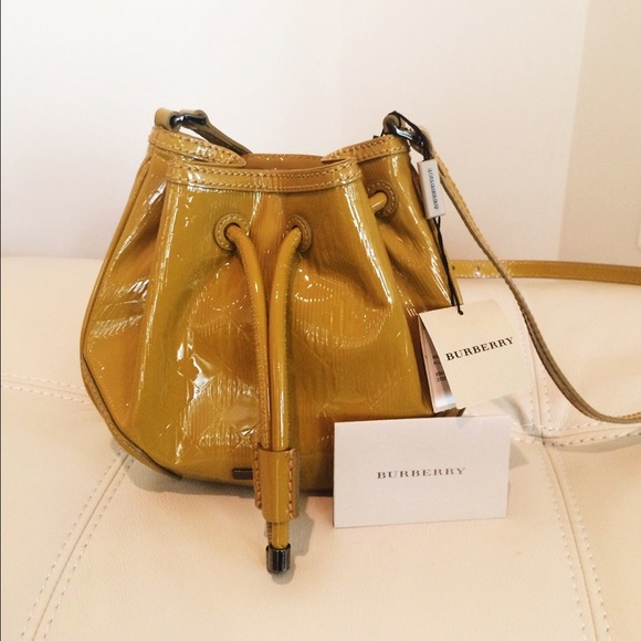 5561b3648508 Burberry Harben Patent Leather Mini Bucket Bag