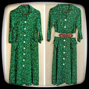 Handmade Dresses & Skirts - Vintage Green Floral Frock/Day Dress