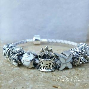 Salty Grace  Jewelry - Happy birthday leather charm bracelet