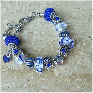 Salty Grace  Jewelry - Daughter charm bracelet in Sapphire blue