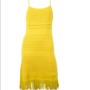 Catherine Malandrino Yellow knit fringe dress