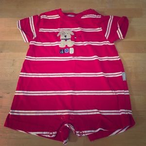 Red White Striped Dog Onesie Outfit 9 Months