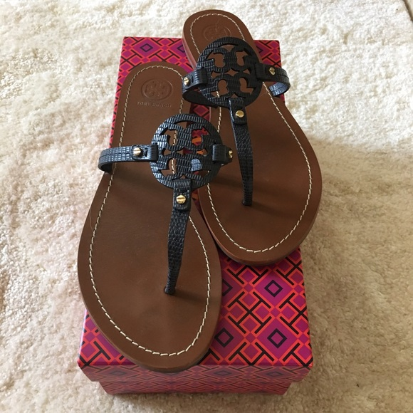 7f995ba7d3e0b Tory Burch Mini Miller Sandals. Navy Blue. 9. Used.  M 57a8c4422de512a47903f3a4