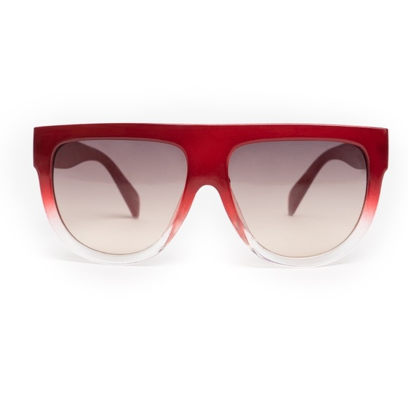 142f4030c9c Red Flat Top Two Toned Oversized Sunglasses