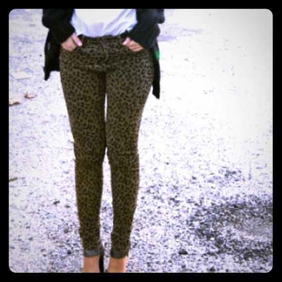 3d4b7f4102c8 Zara Pants | Army Green Leopard Print Skinny Rare | Poshmark
