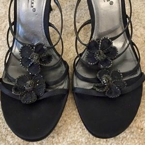 A. Marinelli Shoes - Simple black beaded heel slides, new, never worn