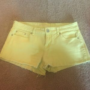 Bright yellow Jean shorts, size 8