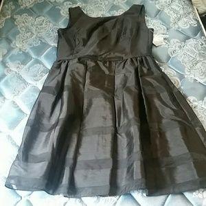 Taylor shadow stripe black party dress 6