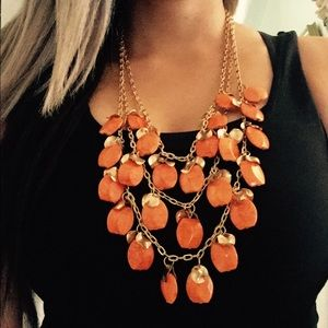 Statement necklace,/earnings orange and gold