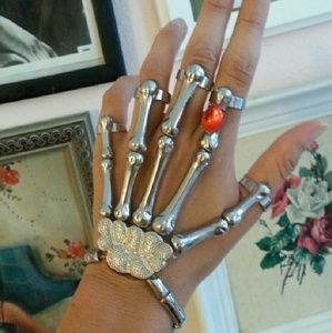 Jewelry - Skeleton hand ring bracelet silver and red