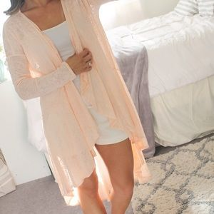 Peach Duster Cardigan / Romantic Style