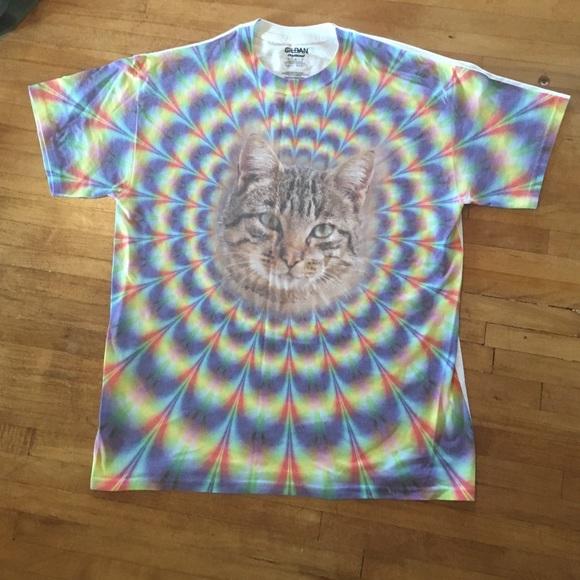 960dd6a6 Gildan Shirts | Tie Dye Cat Tshirt Unisex | Poshmark