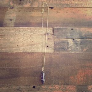 Goldtone Purple Gemstone Statement Necklace