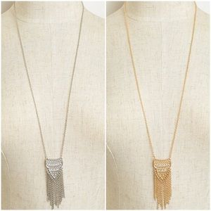 Jewelry - Long Fringe Gold or Silver Pendant Necklace