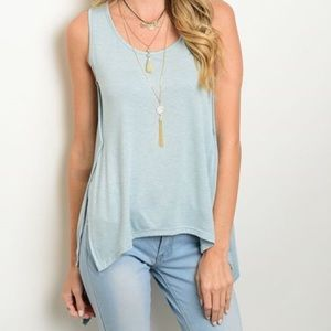 Relaxed Fit Light Sage Sleeveless Top