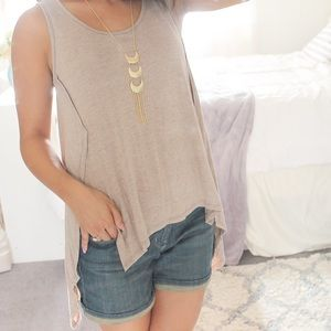 Relaxed Fit Tan Sleeveless Top