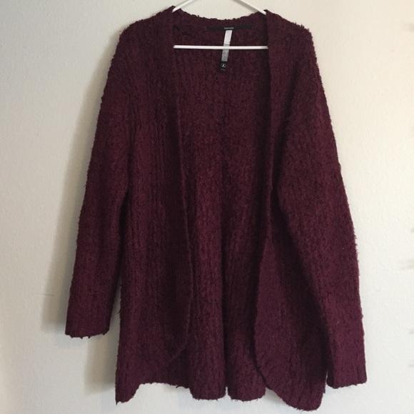 74% off Kensie Sweaters - Kensie Fuzzy Maroon Cardigan from ...
