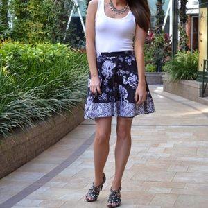 Prabal Gurung floral skirt black and white classic
