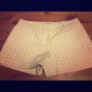"Sale! NWT LOFT 4"" shorts in lime/cream pattern"