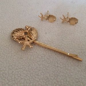 Jewelry - Gold Shell/Starfish Earrings/Hairpin Bundle