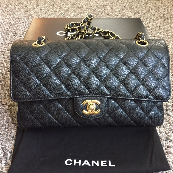 a1abed54b3985b CHANEL Bags | Sold Medium Double Flap Bag Caviar Black | Poshmark