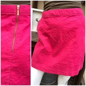 COURDOROY Hot Pink Mini, Pockets, Exposed Zipper